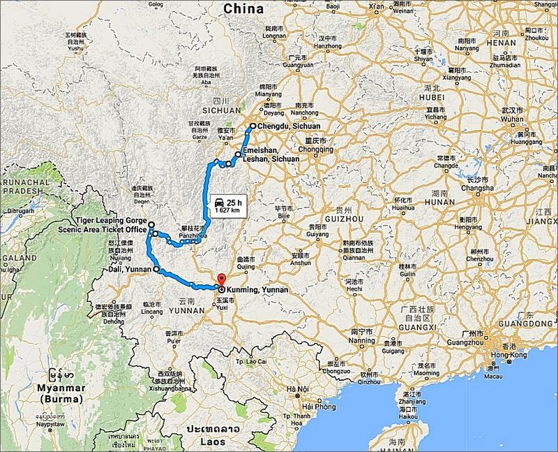 Vår cyklade väg mellan Chengdu och Kunming. Totalt 1619 km på lite drygt två månader. Gjorde två vandringar längs vägen, på Mt Emei och i Tiger Leaping Gorge.