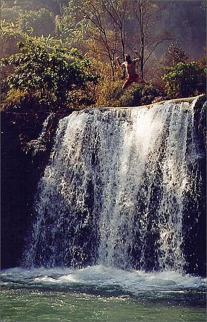 Jumping, Thi Lo Su Waterfall, Thailand.