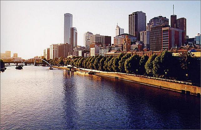 Yarrafloden, Yarra River, Melbourne, Australia.