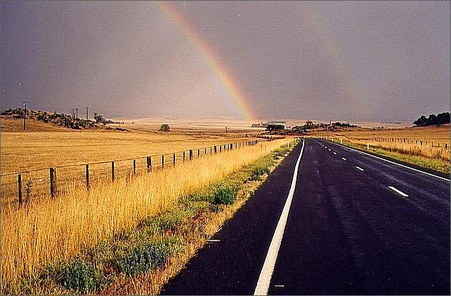 Road, rainbow, Australia.