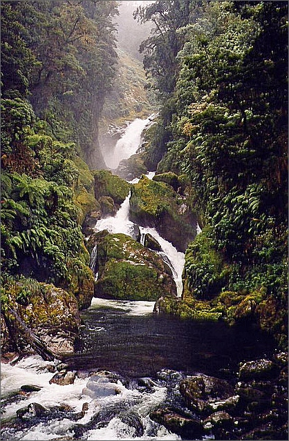 Mackay Falls, Milford Track, New Zealand.