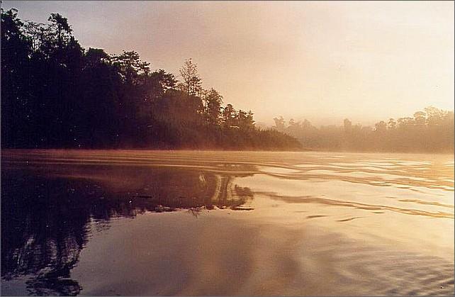 Sunrise, Kinabatangan River, Borneo, Malaysia.