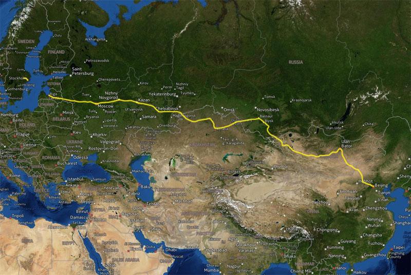 Cyklad vag Vasteras - Beijing 9274 km pa 186 dagar. Avbrott: Bat Stockholm - Riga. Bil over gransen Ryssland - Mongoliet. Bil over gransen Mongoliet - Kina.