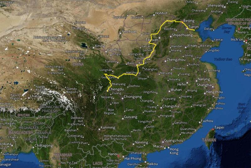 Cyklad vag Beijing - Chengdu 3456 km pa 107 dagar. Avbrott: Jag kom in i forbjudet omrade vid staden Kelan och akte polisbil i 60 km.