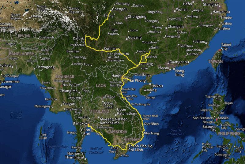 Cyklad vag Chengdu - Bangkok 7433 km pa 375 dagar. Avbrott: Vi kom in i forbjudet omrade vid staden Ebian i Kina och polisen satte oss pa ett tag i ca 100 km. Från Hanoi flog vi till Bangkok tur och retur for att semestra med Olyas foraldrar i 3 veckor. I Vietnam akte vi bat 6 ganger totalt. Over floder och for att komma till och fran on Cat Ba.