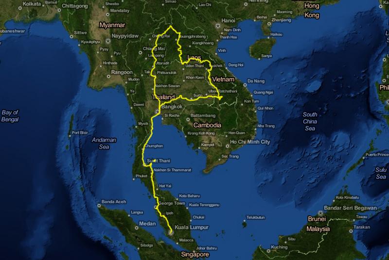 Cyklad väg Bangkok - Kuala Lumpur 5379 km på 150 dagar. Avbrott: Åkte båt över Mekongfloden två gånger. Åkte trafikpolisbil över en bro i Bangkok. Åkte båt tur och retur Ko Samui. Åkte två båtar mellan Satun i Thailand (via Langkawi) och Kuala Perlis i Malaysia. Åkte båt tur och retur Georgetown på Penang.