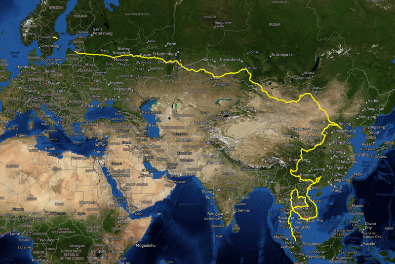 Cyklad väg för hela sträckan Västerås - Kuala Lumpur 25542 km på 1314 dagar. Med längre avbrott i Chengdu och Bangkok då jag åkte till Nepal och Indien för att i huvudsak fjällvandra.