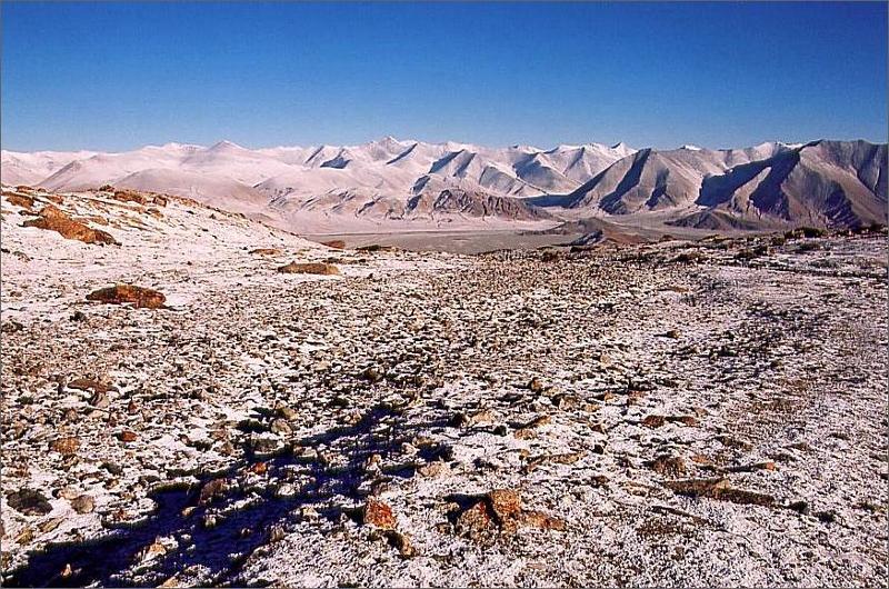 7. Vy från baslägret ner i Subashi Valley och Karakoram Highway.