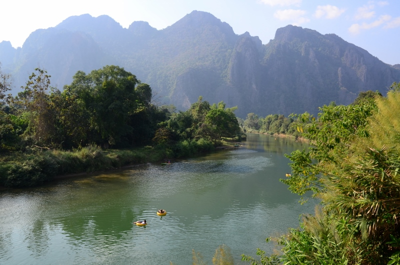 Tubing på Nam Song River, Vang Vieng.