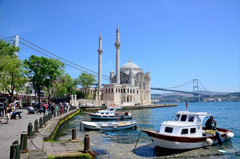 Ortaköy Mosque och den 165 meter höga Bosporenbron.