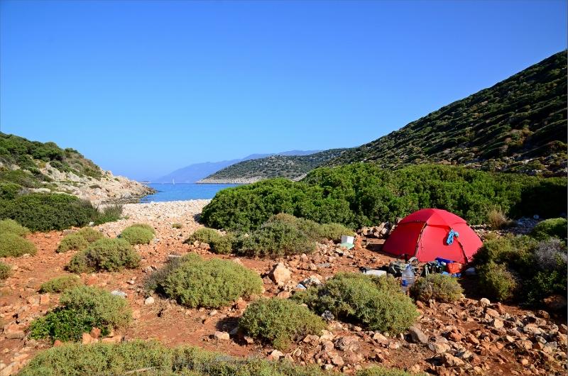 Camping vid Coban Koyu Beach.