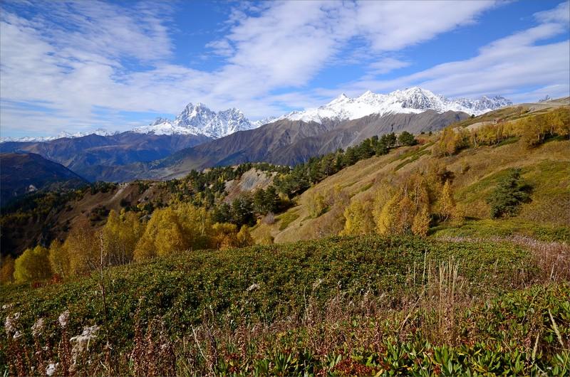 Mt Ushba till vänster och Tetnuldi till höger.