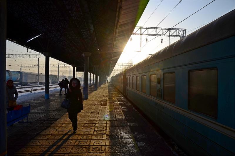 Järnvägsstationen i Almaty, Kazakstan.