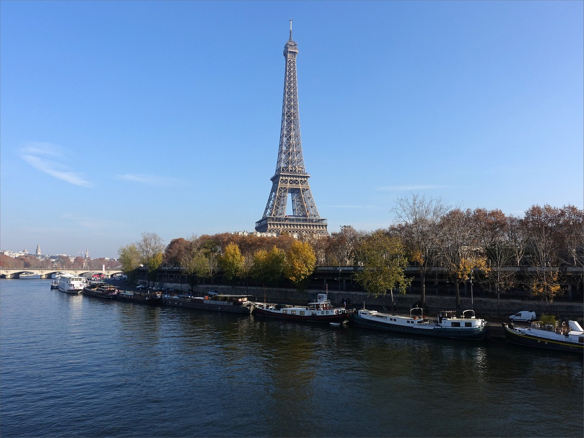 21. Eiffeltornet och Seine sett från ön Ile Aux Cygnes.