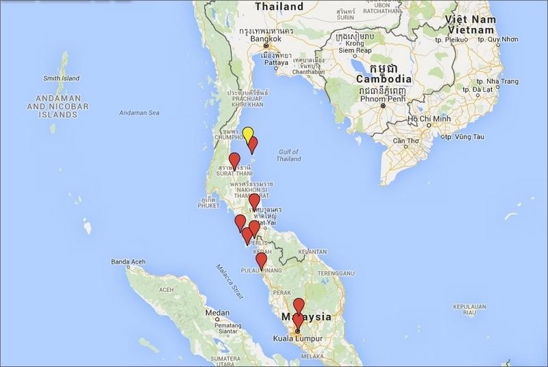Aktuell position: Ko Tao, Thailand. Kartan visar endast de ställen vi varit på sedan vi kom hit till Sydostasien efter Kazakstan.